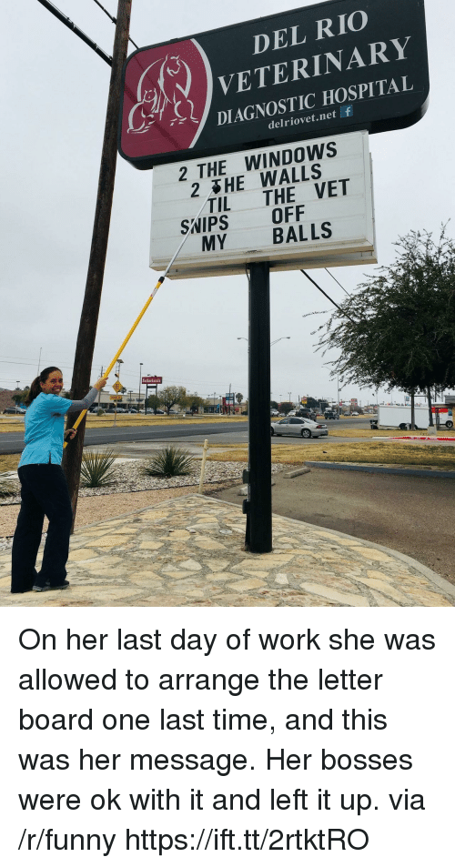Bosses: DEL RIO  VETERINARY  DIAGNOSTIC HOSPITAL  ur,  delriovet.net f  2 THE WINDOWS  2 HE WALLS  TIL THE VET  SWIPS OFF  MY BALLS  Sutherlands On her last day of work she was allowed to arrange the letter board one last time, and this was her message. Her bosses were ok with it and left it up. via /r/funny https://ift.tt/2rtktRO
