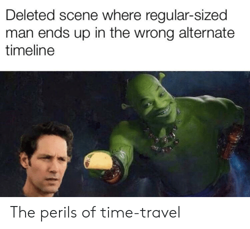 Time, Travel, and Time Travel: Deleted scene where regular-sized  man ends up in the wrong alternate  timeline The perils of time-travel