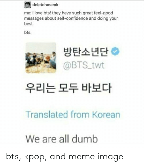 Confidence, Dumb, and Love: deletehoseok  me: i love bts! they have such great feel-good  messages about self-confidence and doing your  best  bts:  방탄소년단  @BTS twt  우리는 모두 바보다  Translated from Korean  We are all dumb bts, kpop, and meme image