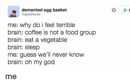 food groups: demented egg basket  @aplethoras  me: why do i feel terrible  brain: coffee is not a food group  brain: eat a vegetable  brain: sleep  me: guess we'll never know  brain: oh my god me