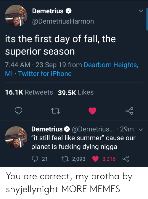 "Dank, Fall, and Fucking: Demetrius  @DemetriusHarmon  its the first day of fall, the  superior season  7:44 AM 23 Sep 19 from Dearborn Heights,  MI Twitter for iPhone  16.1K Retweets  39.5K Likes  Demetrius @Demetrius... 29m  ""it still feel like summer"" cause our  planet is fucking dying nigga  t 2,093  21  8,216 You are correct, my brotha by shyjellynight MORE MEMES"
