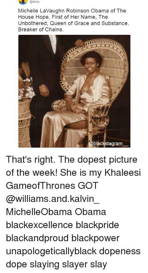 Dope, Memes, and Obama: @deray  Michelle LaVaughn Robinson Obama of The  House Hope, First of Her Name, The  Unbothered, Queen of Grace and Substance,  Breaker of Chains  blackstagram That's right. The dopest picture of the week! She is my Khaleesi GameofThrones GOT @williams.and.kalvin_ MichelleObama Obama blackexcellence blackpride blackandproud blackpower unapologeticallyblack dopeness dope slaying slayer slay