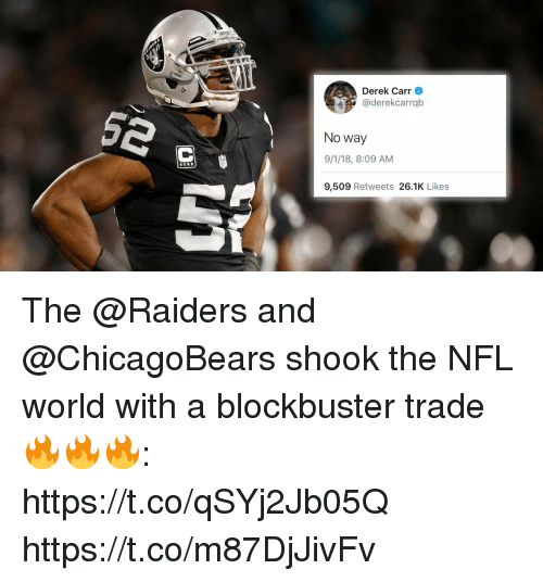 Blockbuster, Memes, and Nfl: Derek Carr  @derekcarrqb  No way  9/1/18, 8:09 AM  9,509 Retweets 26.1K Likes The @Raiders and @ChicagoBears shook the NFL world with a blockbuster trade 🔥🔥🔥: https://t.co/qSYj2Jb05Q https://t.co/m87DjJivFv