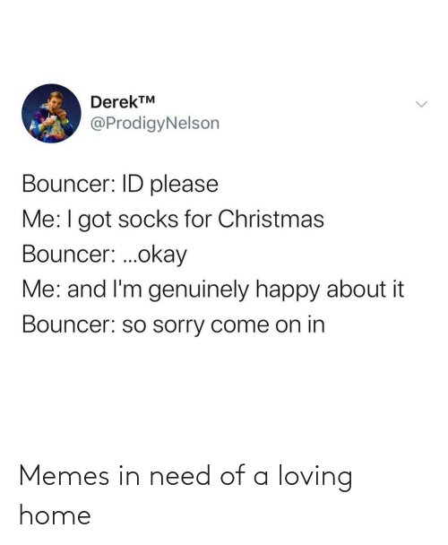 Socks: DerekTM  @ProdigyNelson  Bouncer: ID please  Me:I got socks for Christmas  Bouncer: .okay  Me: and I'm genuinely happy about it  Bouncer: so sorry come on in Memes in need of a loving home
