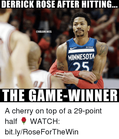 Game Winner: DERRICK ROSE AFTER HITTING  @NBAMEMES  fitbit  MINNESOTA  25  THE GAME-WINNER A cherry on top of a 29-point half 🌹  WATCH: bit.ly/RoseForTheWin