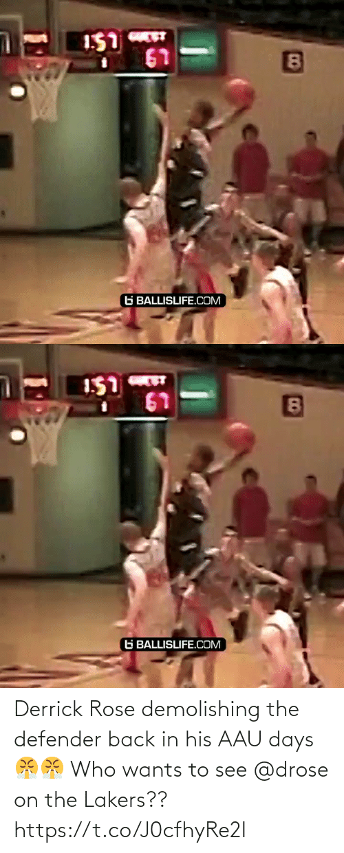 Derrick Rose: Derrick Rose demolishing the defender back in his AAU days 😤😤 Who wants to see @drose on the Lakers?? https://t.co/J0cfhyRe2I