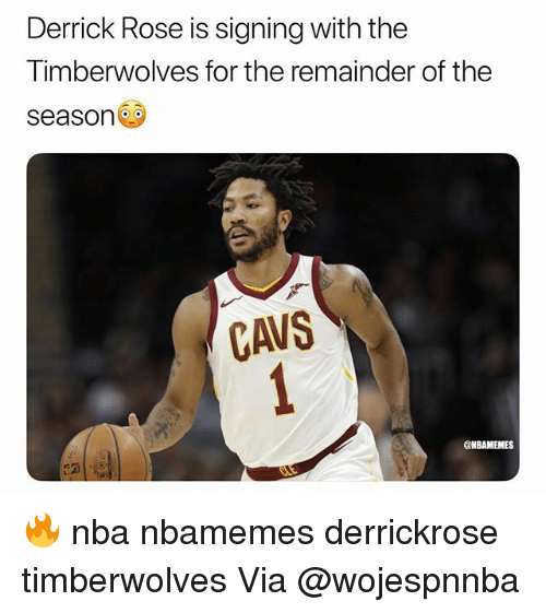 Derrick Rose: Derrick Rose is signing with the  Timberwolves for the remainder of the  season  CAVS  @NBAMEMES 🔥 nba nbamemes derrickrose timberwolves Via @wojespnnba