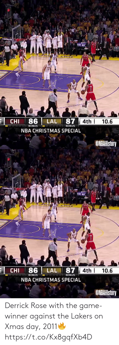 Game Winner: Derrick Rose with the game-winner against the Lakers on Xmas day, 2011🔥  https://t.co/Kx8gqfXb4D