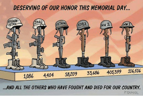 Memorial Day: DESERVING OF OUR HONOR THIS MEMORIAL DAY...  AFGHAN  ISTAN  IRAQ  IETNAM  KOREA  WWI  1086 4404 58209 33,686 405399 116,516  .AND ALL THE OTHERS WHO HAVE FOUGHT AND DIED FOR OUR COUNTRY.  PTAMIOL