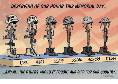 Memorial Day: DESERVING OF OUR HONOR THIS MEMORIAL DAY...  AFGHAN-  ISTAN  IRAQ  ETNAM  KOREA  WWI  1086 4404 58209 33,686 405,39 116516  ..AND ALL THE OTHERS WHO HAVE FOUGHT AND DIED FOR OUR COUNTRY.  PJAMIOL