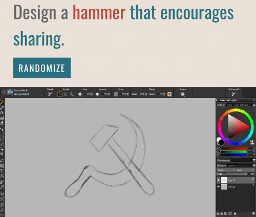 Layers, Design, and Mia: Design a hammer that encourages  sharing.  RANDOMIZE  Opacity  Advanced  Racat  Stroka  Cize  Grain  Madia  Shape  Pens and Penciis  7%T  Real 2B Pencl  509T  65%  Rocat  Eloadt  Color ard Layers  Color Mia Calor Sct Librarik  0  Harmonies  Layers Channels  Default  lqnare  T00  4 Luy 1  Lanvac