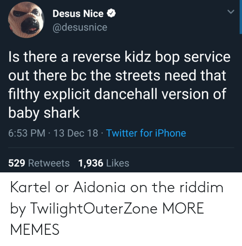 Kidz Bop: Desus Nice  @desusnice  Is there a reverse kidz bop service  out there bc the streets need that  filthy explicit dancehall version of  baby shark  6:53 PM 13 Dec 18 Twitter for iPhone  529 Retweets 1,936 Likes Kartel or Aidonia on the riddim by TwilightOuterZone MORE MEMES