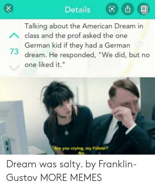 "Crying, Dank, and Memes: Details  Talking about the American Dream in  Aclass and the prof asked the one  German kid if they had a German  dream. He responded, ""We did, but no  one liked it.""  Are you crying, my Führer?  No Dream was salty. by Franklin-Gustov MORE MEMES"