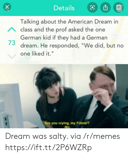 "Crying, Memes, and Being Salty: Details  Talking about the American Dream in  Aclass and the prof asked the one  German kid if they had a German  dream. He responded, ""We did, but no  one liked it.""  Are you crying, my Führer?  No Dream was salty. via /r/memes https://ift.tt/2P6WZRp"