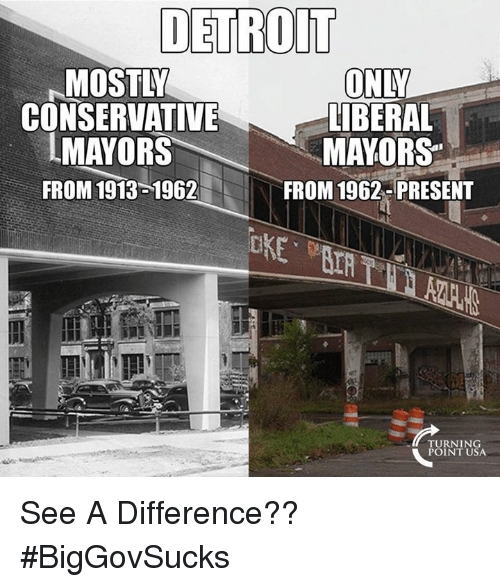 Detroit, Memes, and Conservative: DETROIT  MOSTLY  CONSERVATIVE  IMAYORS  FROM 1913 1962  ONY  LİBERAL  MAYORS  FROM 1962- PRESENT  TURNING  POINT USA See A Difference?? #BigGovSucks