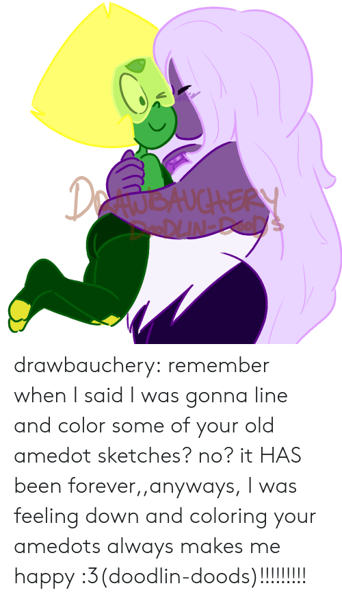 Your Old: DetwokuchERY drawbauchery:  remember when I said I was gonna line and color some of your old amedot sketches? no? it HAS been forever,,anyways, I was feeling down and coloring your amedots always makes me happy :3(doodlin-doods)!!!!!!!!!