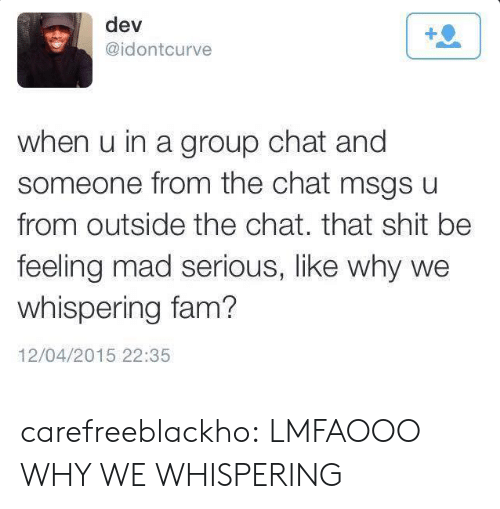 Fam, Group Chat, and Shit: dev  @idontcurve  when u in a group chat and  someone from the chat msgs u  from outside the chat. that shit be  feeling mad serious, like why we  whispering fam?  12/04/2015 22:35 carefreeblackho:  LMFAOOO WHY WE WHISPERING