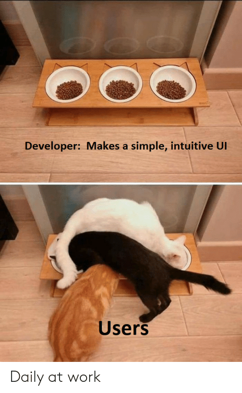 Work, Simple, and Developer: Developer: Makes a simple, intuitive UI  Users Daily at work