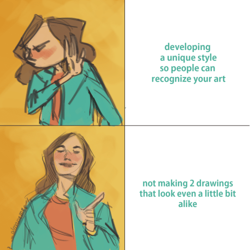 Drawings, Art, and Can: developing  a unique style  so people can  recognize your art  not making 2 drawings  that look even a little bit  alike