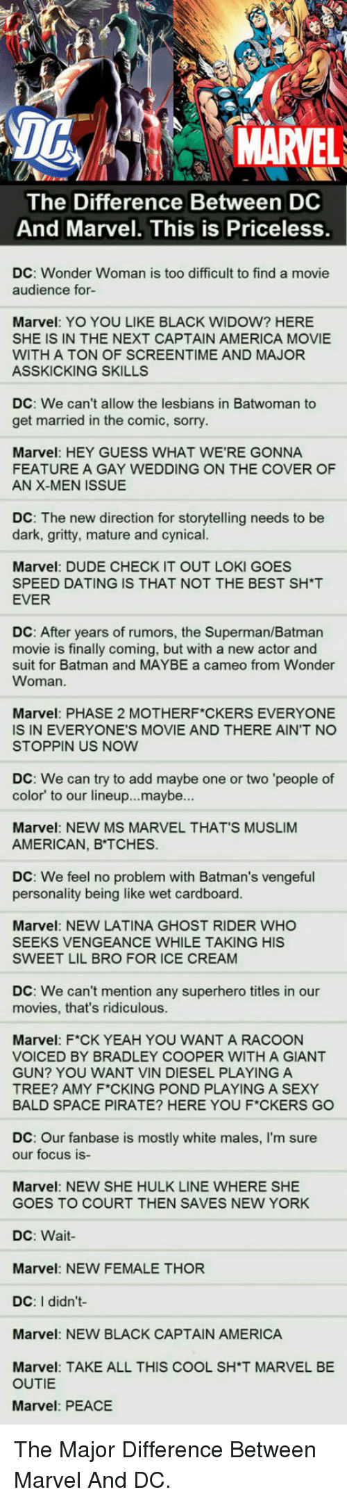 ms marvel: DG  MARVEL  The Difference Between DC  And Marvel. This is Priceless  DC: Wonder Woman is too difficult to find a movie  audience for-  Marvel: YO YOU LIKE BLACK WIDOW? HERE  SHE IS IN THE NEXT CAPTAIN AMERICA MOVIE  WITH A TON OF SCREENTIME AND MAJOR  ASSKICKING SKILLS  DC: We can't allow the lesbians in Batwoman to  get married in the comic, sorry  Marvel: HEY GUESS WHAT WE'RE GONNA  FEATURE A GAY WEDDING ON THE COVER OF  AN X-MEN ISSUE  DC: The new direction for storytelling needs to be  dark, gritty, mature and cynical.  ES  Marvel: DUDE CHECK IT OUT LOKI GO  SPEED DATING IS THAT NOT THE BEST SH*T  EVER  DC: After years of rumors, the Superman/Batman  movie is finally coming, but with a new actor and  suit for Batman and MAYBE a cameo from Wonder  Woman.  Marvel: PHASE 2 MOTHERF CKERS EVERYONE  IS IN EVERYONE'S MOVIE AND THERE AIN'T NO  STOPPIN US NOW  DC: We can try to add maybe one or two 'people of  color' to our lineup...maybe...  Marvel: NEW MS MARVEL THAT'S MUSLIM  AMERICAN, B TCHES.  DC: We feel no problem with Batman's vengeful  personality being like wet cardboard.  Marvel: NEW LATINA GHOST RIDER WHO  SEEKS VENGEANCE WHILE TAKING HIS  SWEET LIL BRO FOR ICE CREAM  DC: We can't mention any superhero titles in our  movies, that's ridiculous  Marvel: F*CK YEAH YOU WANT A RACOON  VOICED BY BRADLEY COOPER WITH A GIANT  GUN? YOU WANT VIN DIESEL PLAYING A  TREE? AMY F CKING POND PLAYING A SEXY  BALD SPACE PIRATE? HERE YOU F*CKERS GO  DC: Our fanbase is mostly white males, I'm sure  our focus is-  Marvel: NEW SHE HULK LINE WHERE SHE  GOES TO COURT THEN SAVES NEW YORK  DC: Wait  Marvel: NEW FEMALE THOR  DC: I didn't  Marvel: NEW BLACK CAPTAIN AMERICA  Marvel: TAKE ALL THIS COOL SH'T MARVEL BE  OUTIE  Marvel: PEACE <p>The Major Difference Between Marvel And DC.</p>