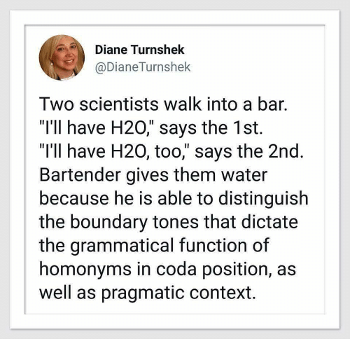 """h20: Diane Turnshek  @DianeTurnshek  Two scientists walk into a bar.  """"I'1l have H20,"""" says the 1st.  """"I'll have H20, too,"""" says the 2nd  Bartender gives them water  because he is able to distinguish  the boundary tones that dictate  the grammatical function of  homonyms in coda position, as  well as pragmatic context."""