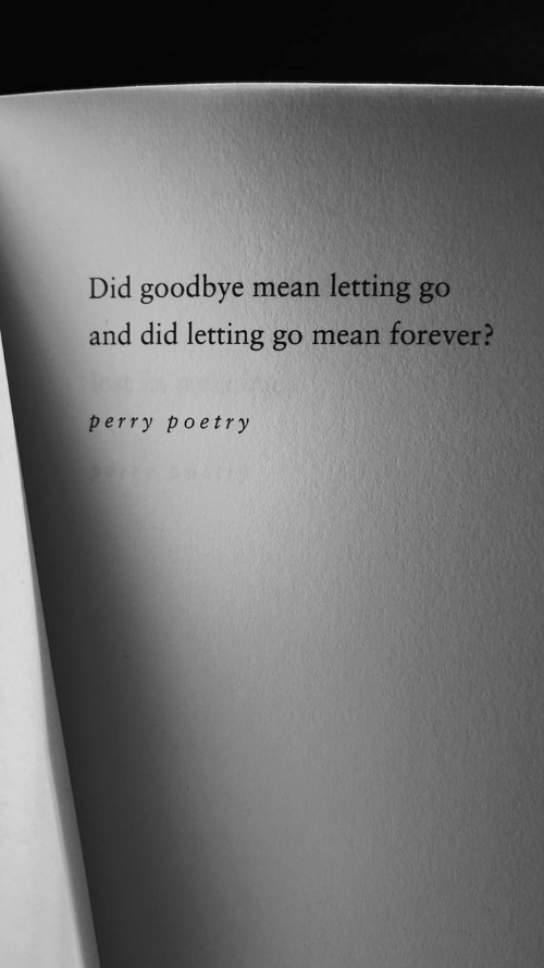 Poetry: Did goodbye  letting go  mean  and did letting go mean forever?  perry poetry