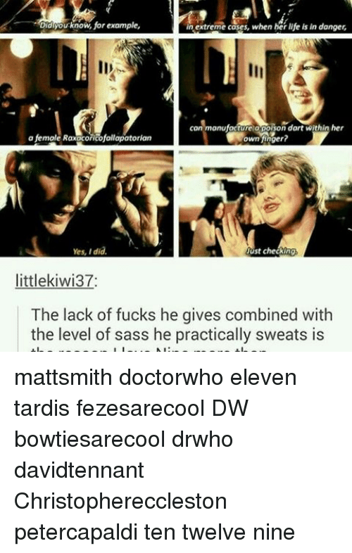 Memes, 🤖, and Yes: Did  know for example,  in extreme cases, when her life in danger,  con manufacture opolion dart within her  Mown finger?  a female Raxaconcofallapatorian  Yes, did.  Just checking  little kiwi37:  The lack of fucks he gives combined with  the level of sass he practically sweats is mattsmith doctorwho eleven tardis fezesarecool DW bowtiesarecool drwho davidtennant Christophereccleston petercapaldi ten twelve nine