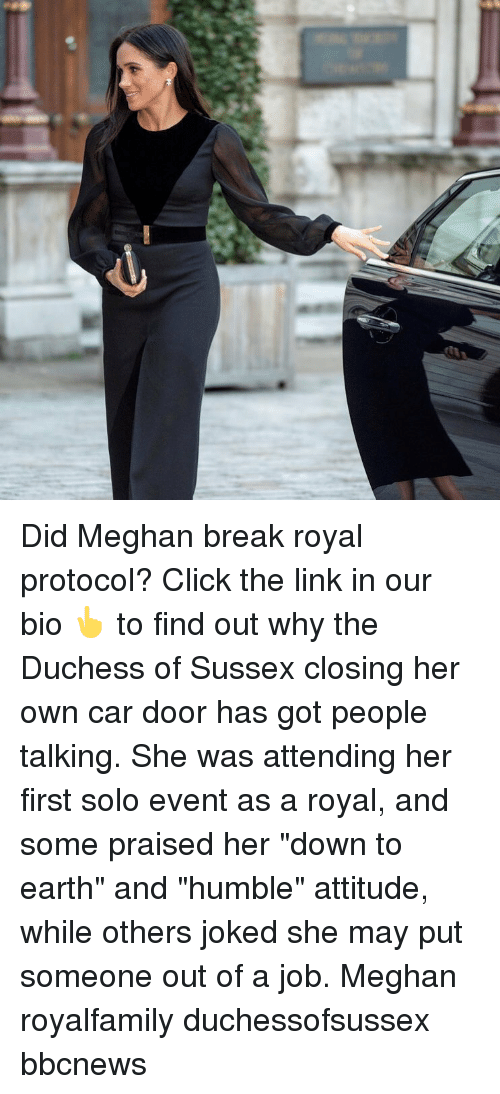 "Joked: Did Meghan break royal protocol? Click the link in our bio 👆 to find out why the Duchess of Sussex closing her own car door has got people talking. She was attending her first solo event as a royal, and some praised her ""down to earth"" and ""humble"" attitude, while others joked she may put someone out of a job. Meghan royalfamily duchessofsussex bbcnews"