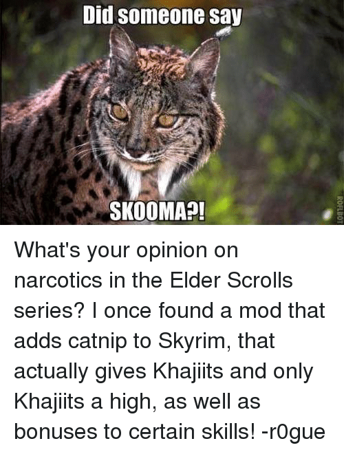 Opinionating: Did someone say  SKOOMA What's your opinion on narcotics in the Elder Scrolls series? I once found a mod that adds catnip to Skyrim, that actually gives Khajiits and only Khajiits a high, as well as bonuses to certain skills! -r0gue