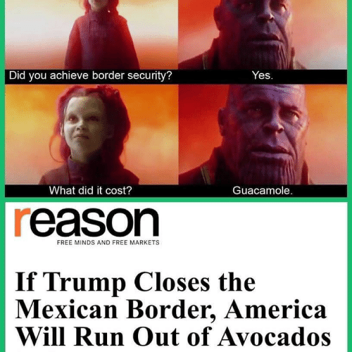 Guacamole: Did you achieve border security?  Yes  What did it cost?  Guacamole.  reason  FREE MINDS AND FREE MARKETS  If Trump Closes the  Mexican Border, America  Will Run Out of Avocados