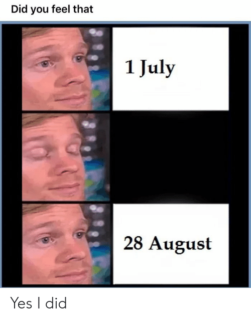 Yes, August, and Did: Did you feel that  1 July  28 August Yes I did