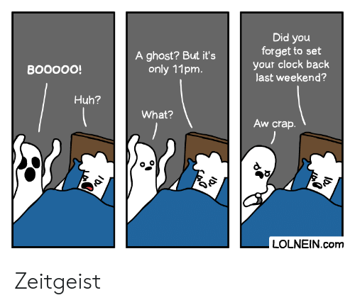 Clock, Huh, and Ghost: Did you  forget to set  your clock back  last weekend?  A ghost? But it's  only 11pm.  ВOOOО!  Huh?  What?  Aw crap.  LOLNEIN.com  کهی Zeitgeist
