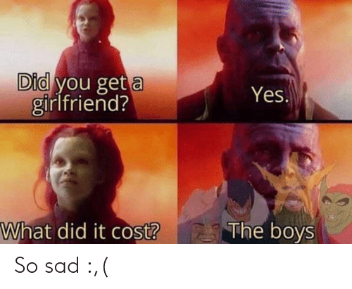 Reddit, Girlfriend, and Sad: Did you get a  girlfriend?  Yes.  The boys  What did it cost? So sad :,(