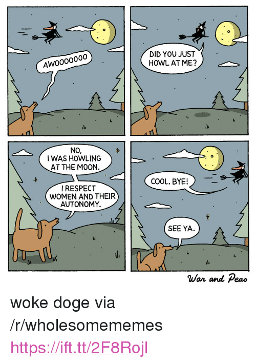 """Doge, Cool, and Women: DID YOU JUST  HOWL AT ME?  Awoooo000  NO,  I WAS HOWLING  AT THE M00N.  -t  COOL. BYE!  IRESPECT  WOMEN AND THEIR  AUTONOMY.  SEE YA.  lt  War and Peao <p>woke doge via /r/wholesomememes <a href=""""https://ift.tt/2F8Rojl"""">https://ift.tt/2F8Rojl</a></p>"""