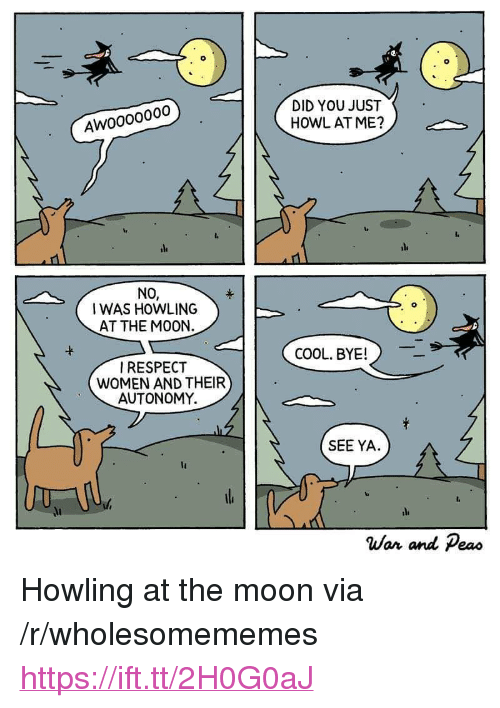 """Respect, Cool, and Moon: DID YOU JUST  HOWL ATME?  Awoooo000  ile  ile  NO,  0  I WAS HOWLING  AT THE M00N.  COOL, BYE!  RESPECT  WOMEN AND THEIR  AUTONOMY.  SEE YA.  li  War and Peao <p>Howling at the moon via /r/wholesomememes <a href=""""https://ift.tt/2H0G0aJ"""">https://ift.tt/2H0G0aJ</a></p>"""