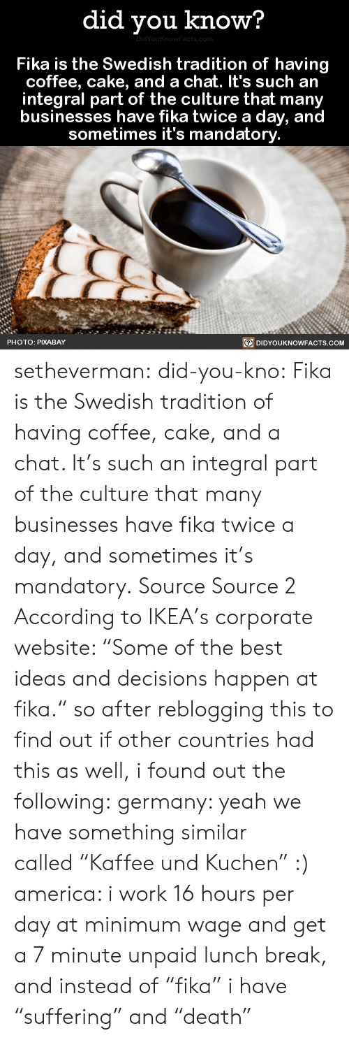 """having coffee: did you know?  Fika is the Swedish tradition of having  coffee, cake, and a chat. It's such an  integral part of the culture that many  businesses have fika twice a day, and  sometimes it's mandatory  PHOTO: PIXABAY  DIDYOUKNOWFACTS.CoM setheverman: did-you-kno:  Fika is the Swedish tradition of having  coffee, cake, and a chat. It's such an  integral part of the culture that many  businesses have fika twice a day, and  sometimes it's mandatory.    Source Source 2 According to IKEA's corporate website: """"Some of the best ideas and decisions happen at fika.""""  so after reblogging this to find out if other countries had this as well, i found out the following:  germany: yeah we have something similar called""""Kaffee und Kuchen"""" :)  america: i work 16 hours per day at minimum wage and get a 7 minute unpaid lunch break, and instead of""""fika"""" i have """"suffering"""" and """"death"""""""