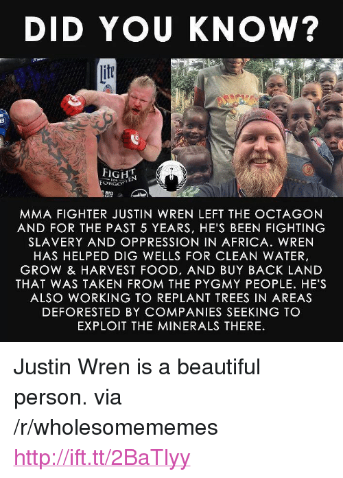 """minerals: DID YOU KNOW?  if  FORGO  BIG  MMA FIGHTER JUSTIN WREN LEFT THE OCTAGON  AND FOR THE PAST 5 YEARS, HE'S BEEN FIGHTING  SLAVERY AND OPPRESSION IN AFRICA. WREN  HAS HELPED DIG WELLS FOR CLEAN WATER,  GROW & HARVEST FOOD, AND BUY BACK LAND  THAT WAS TAKEN FROM THE PYGMY PEOPLE. HE'S  ALSO WORKING TO REPLANT TREES IN AREAS  DEFORESTED BY COMPANIES SEEKING TO  EXPLOIT THE MINERALS THERE <p>Justin Wren is a beautiful person. via /r/wholesomememes <a href=""""http://ift.tt/2BaTlyy"""">http://ift.tt/2BaTlyy</a></p>"""