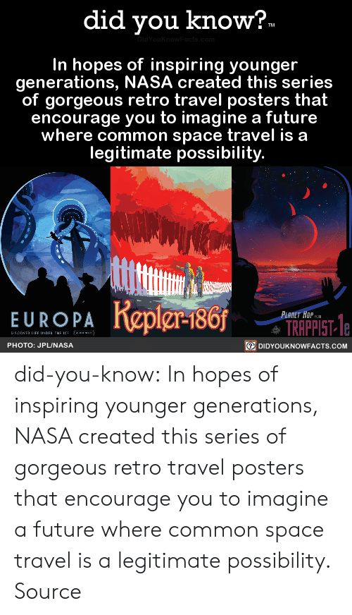 posters: did you know?  In hopes of inspiring younger  generations, NASA created this series  of gorgeous retro travel posters that  encourage you to imagine a future  where common space travel is a  legitimate possibility.  PA Repier-186  TRAPPIST- e  回DIDYOUKNOWFACTS.COM  PHOTO: JPLUNASA did-you-know:  In hopes of inspiring younger  generations, NASA created this series  of gorgeous retro travel posters that  encourage you to imagine a future  where common space travel is a  legitimate possibility.  Source