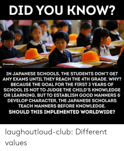 Scholars: DID YOU KNOW?  IN JAPANESE SCHOOLS, THE STUDENTS DON'T GET  ANY EXAMS UNTIL THEY REACH THE 4TH GRADE. WHY?  BECAUSE THE GOAL FOR THE FIRST 3 YEARS OF  SCHOOLIS NOT TO JUDGE THE CHILD'S KNOWLEDGE  OR LEARNING, BUT TO ESTABLISH GOOD MANNERS &  DEVELOP CHARACTER, THE JAPANESE SCHOLARS  TEACH MANNERS BEFORE KNOWLEDGE  SHOULD THIS IMPLEMENTED WORLDWIDE? laughoutloud-club:  Different values
