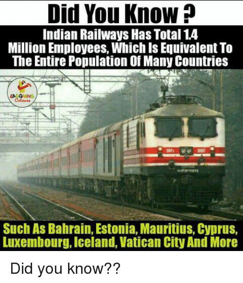 Citi, Iceland, and Icelandic: Did You Know  Indian Railways Has Total 14  Million Employees. Whichis Equivalent To  The Entire Population of Many Countries  Such As Bahrain, Estonia, Mauritius, Cyprus,  Luxembourg, Iceland, Vatican City And More Did you know??