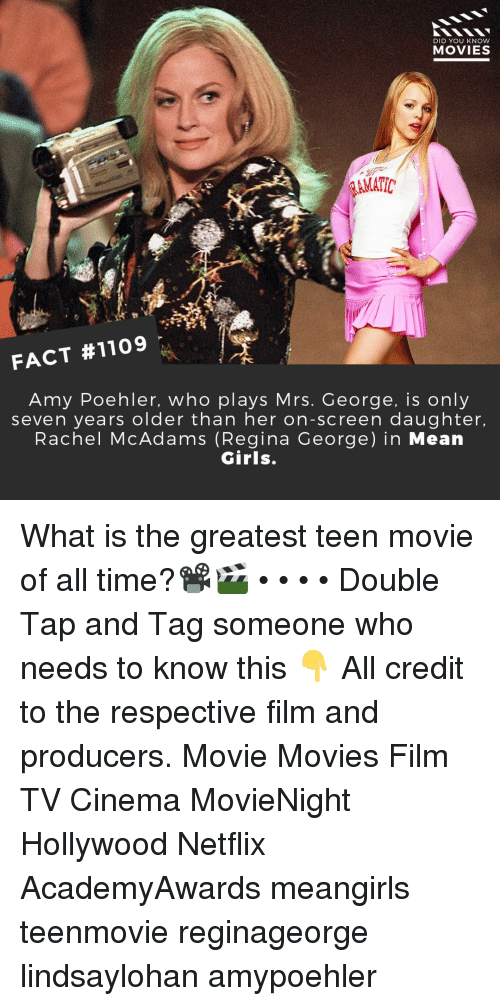 regina: DID YOU KNoW  MOVIES  AMATIC  FACT #1109  Amy Poehler, who plays Mrs. George, is only  seven years older than her on-screen daughter.  Rachel McAdams (Regina George) in Mean  Girls. What is the greatest teen movie of all time?📽️🎬 • • • • Double Tap and Tag someone who needs to know this 👇 All credit to the respective film and producers. Movie Movies Film TV Cinema MovieNight Hollywood Netflix AcademyAwards meangirls teenmovie reginageorge lindsaylohan amypoehler
