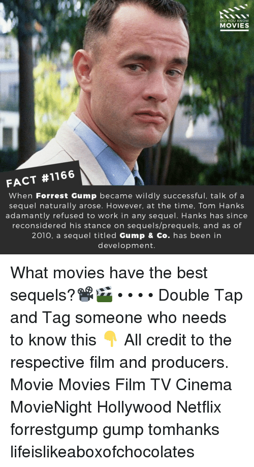 Tom Hanks: DID YOU KNow  MOVIES  FACT #1166  When Forrest Gump became wildly successful, talk of a  sequel naturally arose. However, at the time, Tom Hanks  adamantly refused to work in any sequel. Hanks has since  reconsidered his stance on sequels/prequels, and as of  2010, a sequel titled Gump & Co. has been in  development. What movies have the best sequels?📽️🎬 • • • • Double Tap and Tag someone who needs to know this 👇 All credit to the respective film and producers. Movie Movies Film TV Cinema MovieNight Hollywood Netflix forrestgump gump tomhanks lifeislikeaboxofchocolates