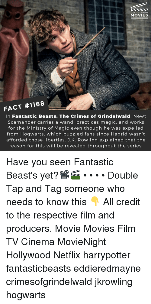 expelled: DID YOU KNOW  MOVIES  FACT #1168  In Fantastic Beasts: The Crimes of Grindelwald, Newt  Scamander carries a wand, practices magic, and works  for the Ministry of Magic even though he was expelled  from Hogwarts, which puzzled fans since Hagrid wasn't  afforded those liberties. J.K. Rowling explained that the  reason for this will be revealed throughout the series Have you seen Fantastic Beast's yet?📽️🎬 • • • • Double Tap and Tag someone who needs to know this 👇 All credit to the respective film and producers. Movie Movies Film TV Cinema MovieNight Hollywood Netflix harrypotter fantasticbeasts eddieredmayne crimesofgrindelwald jkrowling hogwarts