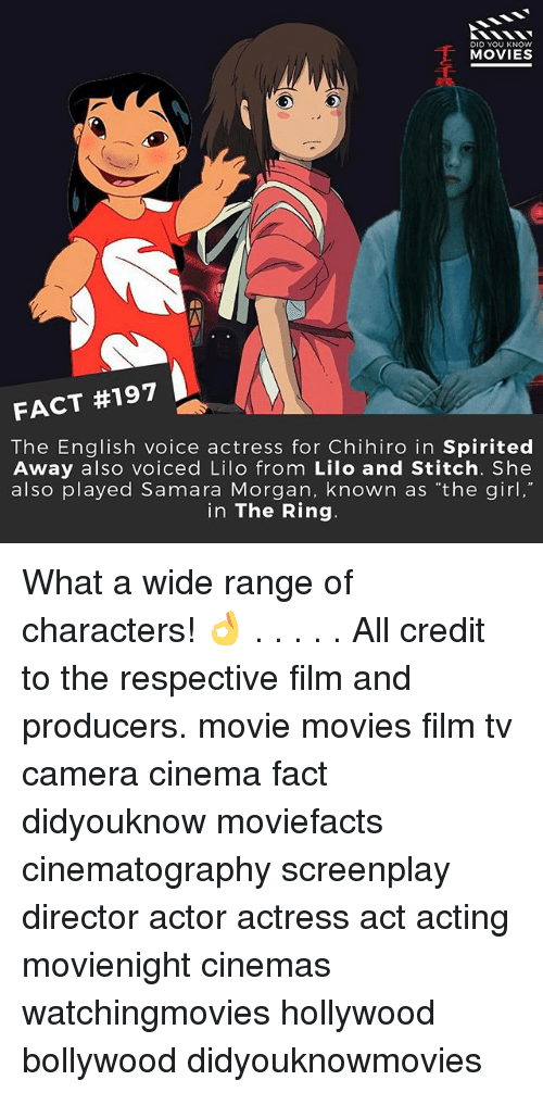 """lilo and stitch: DID YOU KNOW  MOVIES  FACT #197  The English voice actress for Chihiro in Spirited  Away also voiced Lilo from Lilo and Stitch. She  also played Samara Morgan, known as """"the girl,""""  in The Ring What a wide range of characters! 👌 . . . . . All credit to the respective film and producers. movie movies film tv camera cinema fact didyouknow moviefacts cinematography screenplay director actor actress act acting movienight cinemas watchingmovies hollywood bollywood didyouknowmovies"""