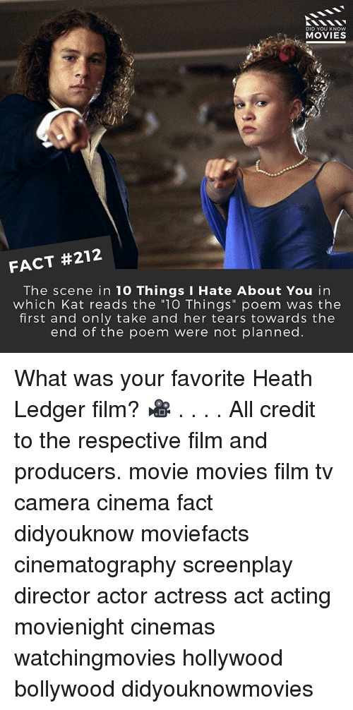 """10 Things I Hate About You: DID YOU KNOW  MOVIES  FACT #212  The scene in 10 Things I Hate About You in  which Kat reads the """"10 Things"""" poem was the  first and only take and her tears towards the  end of the poem were not planned. What was your favorite Heath Ledger film? 🎥 . . . . All credit to the respective film and producers. movie movies film tv camera cinema fact didyouknow moviefacts cinematography screenplay director actor actress act acting movienight cinemas watchingmovies hollywood bollywood didyouknowmovies"""