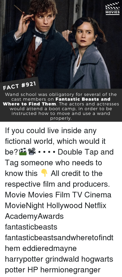 Actresses: DID YOU KNOW  MOVIES  FACT #921  Wand school was obligatory for several of thee  cast members on Fantastic Beasts and  Where to Find Them. The actors and actresses  would attend a boot camp, in order to be  instructed how to move and use a wand  properly If you could live inside any fictional world, which would it be?🎬📽️ • • • • Double Tap and Tag someone who needs to know this 👇 All credit to the respective film and producers. Movie Movies Film TV Cinema MovieNight Hollywood Netflix AcademyAwards fantasticbeasts fantasticbeastsandwheretofindthem eddieredmayne harrypotter grindwald hogwarts potter HP hermionegranger