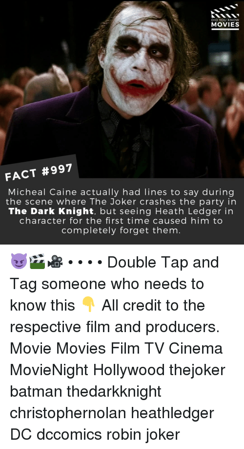 in character: DID YOU KNOW  MOVIES  FACT #997  Micheal Caine actually had lines to say during  the scene where The Joker crashes the party in  The Dark Knight, but seeing Heath Ledger in  character for the first time caused him to  completely forget them 😈🎬🎥 • • • • Double Tap and Tag someone who needs to know this 👇 All credit to the respective film and producers. Movie Movies Film TV Cinema MovieNight Hollywood thejoker batman thedarkknight christophernolan heathledger DC dccomics robin joker