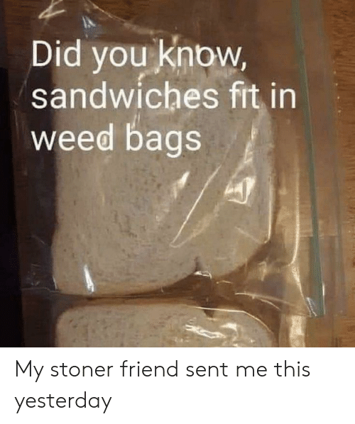 Weed: Did you know,  sandwiches fit in  weed bags My stoner friend sent me this yesterday