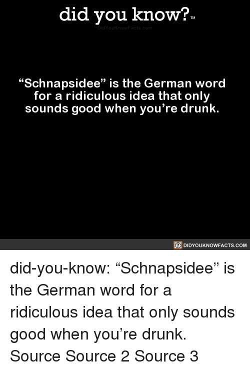 "Youre Drunk: did you know?  ""Schnapsidee"" is the German word  for a ridiculous idea that only  sounds good when you're drunk.  回DIDYOUKNOWFACTS.COM did-you-know:  ""Schnapsidee"" is the German word   for a ridiculous idea that only   sounds good when you're drunk.    Source Source 2 Source 3"