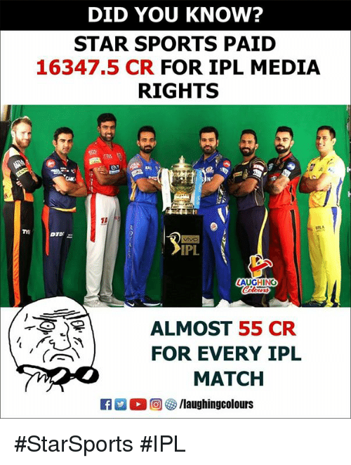 Sports, Match, and Star: DID YOU KNOW?  STAR SPORTS PAID  16347.5 CR FOR IPL MEDIA  RIGHTS  RLA  IPL  AUGHING  ALMOST 55 CR  FOR EVERY IPL  MATCH #StarSports #IPL